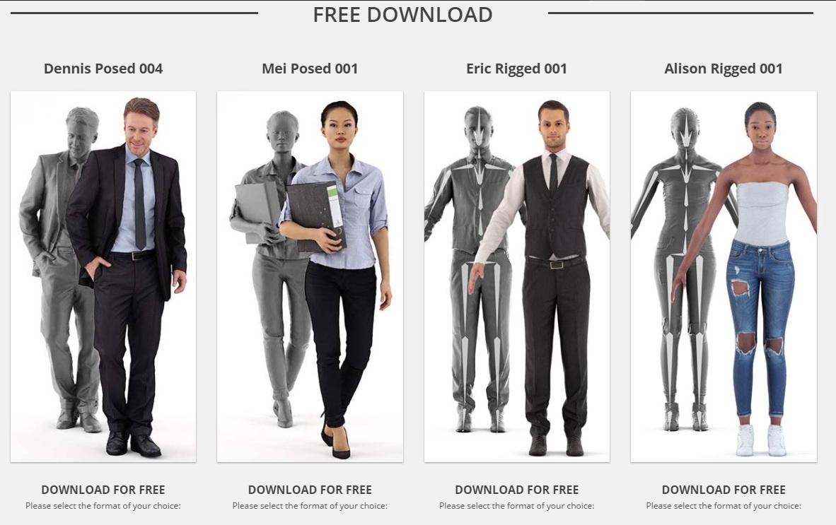 4 personaggi 3d riggati e completi di texture gratuiti da for Rendering 3d gratis